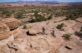 Mountain bikers cycling in Moab